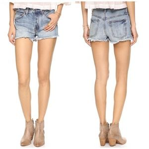 Free People Raw Hem High Rise Denim Shorts